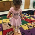 toddler dancer on balance beam