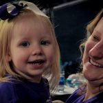 Toddler and mom at Liberty University game